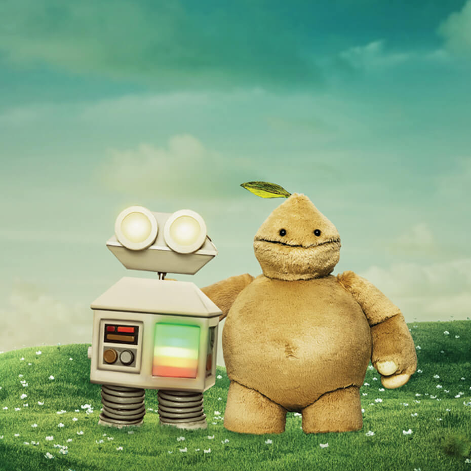 Beep puppets standing in field