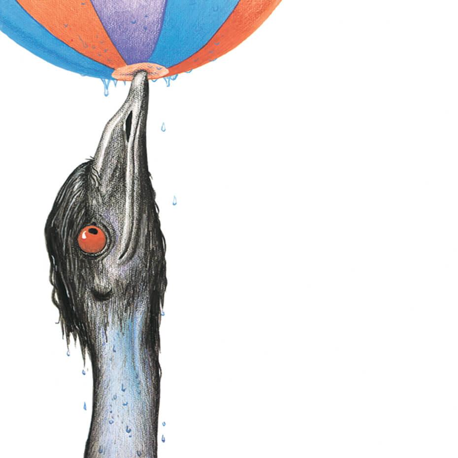 Edward the Emu with ball on beak