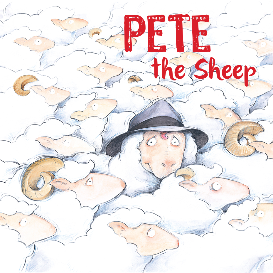 Story book sketch of Pete the Sheep wearing a hat
