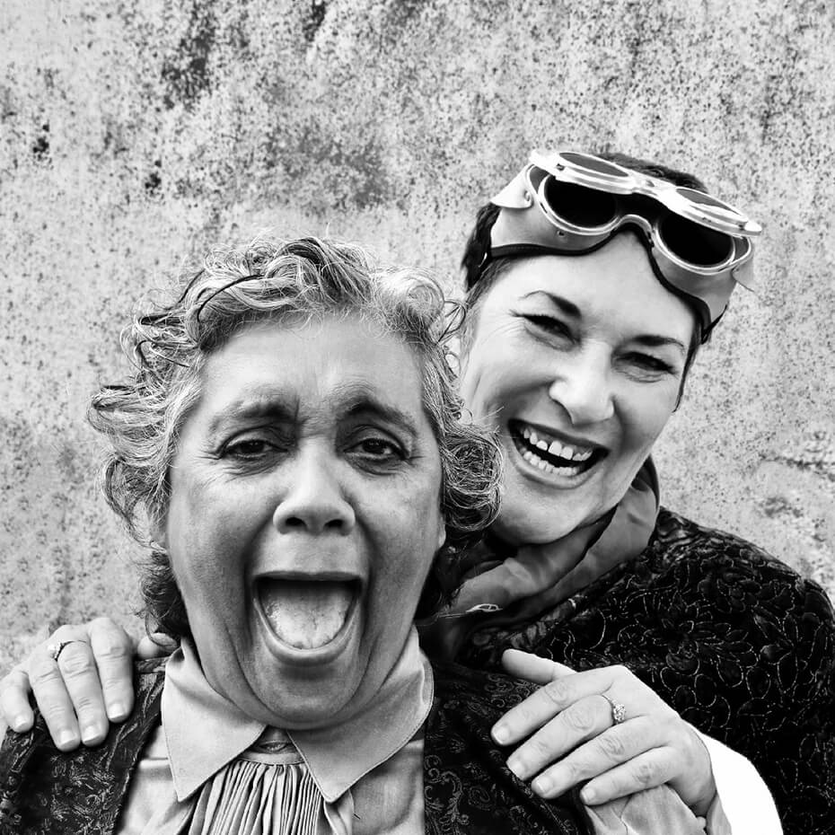 Black and white photo of two women