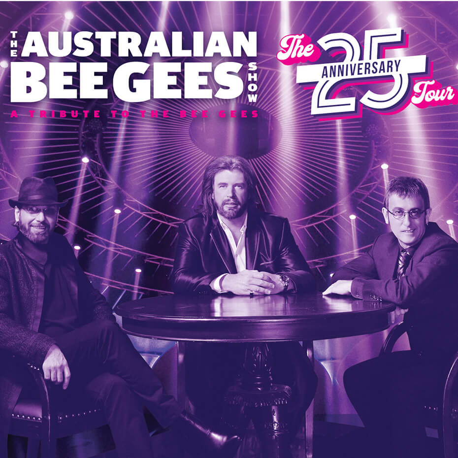 Three men as Bee Gees tribute band