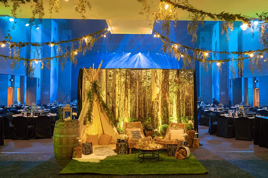 Winter wonderland photo backdrop set up at a function