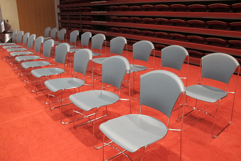 Chairs lined up for presentation