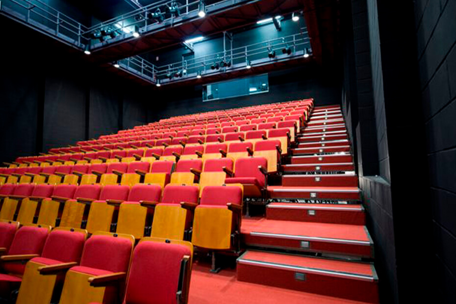 Looking up at red seats in Studio theatre